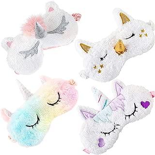 Kids Sleep Mask,Aniwon 4 Pack Cute Eye Mask for Sleeping Unicorn Sleep Mask Night Blindfold Bed Eye Covers Sleep Mask for Women Girls Kids Favor