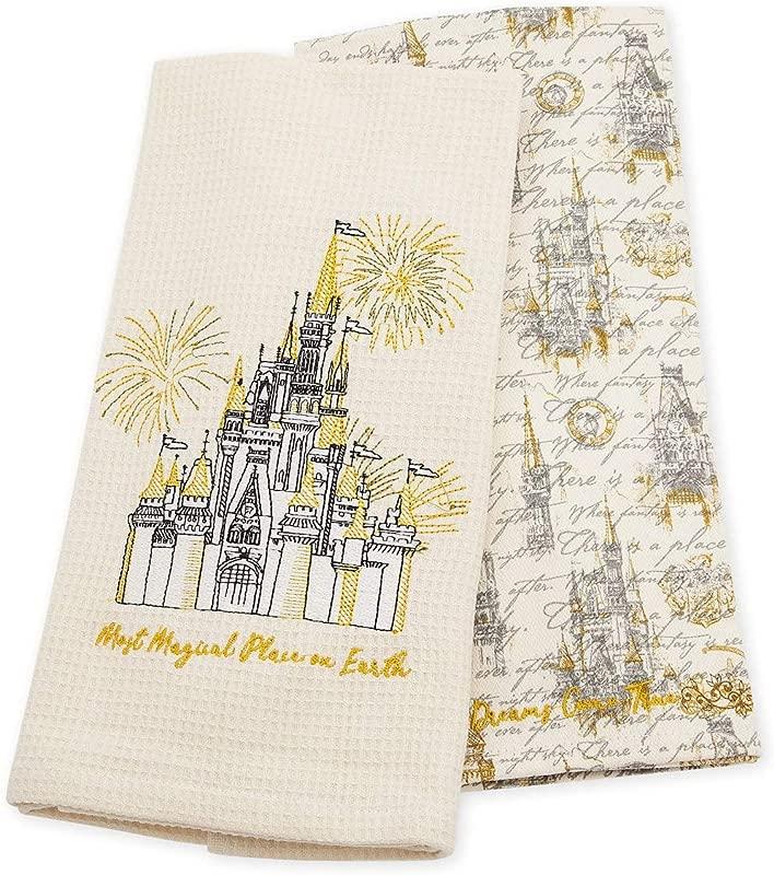 Disney Parks Authentic Disney World Cinderella Castle Kitchen Towel Set