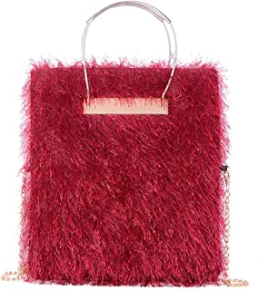 Trendy Lady Woolen Bag Chain Large-capacity Handbag Fashion Dinner Single Shoulder Diagonal Package Zgywmz (Color : Red, Size : 18 * 2 * 31cm)