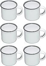 Kitchen Craft Living Nostalgia Enamel Espresso Mugs, 90 ml (3 fl oz) - White/Grey (Set of 6)