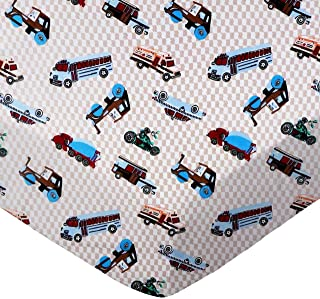 SheetWorld 100% Cotton Flannel Extra Deep Fitted Portable Mini Crib Sheet 24 x 38 x 5.5, Vehicles Cream, Made in USA