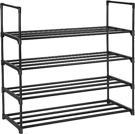"SONGMICS 4-Tier Shoe Rack 20 Pairs Metal Shoe Tower Shelf Storage Organizer Cabinet 35.6"" L x 11.9"" W x 33.3"" H Black ULSA14BK"