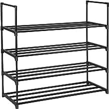 SONGMICS 4-Tier Shoe Rack 20 Pairs Metal Shoe Tower Shelf Storage Organizer Cabinet 35.6 x 11.9 x 33.3 Inches Black ULSA14BK