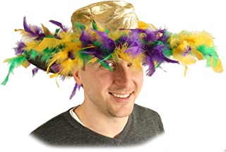 Mardi Gras Feather Hat (golden-yellow, green, purple) Party Accessory (1 count)