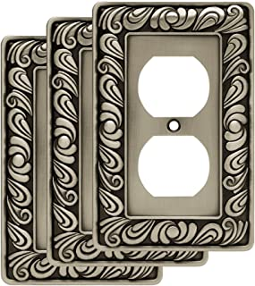 Franklin Brass W10110V-BSP-R Paisley Single Duplex Outlet Wall Switch Plate/Cover, 3-Pack, Brushed Satin Pewter