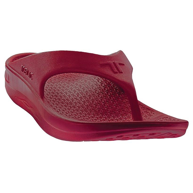 Telic Energy Flip Flop - Comfort Sandals for Men and Women, Dark Cherry, Women's 12 / Men's 11