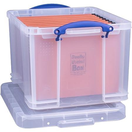 Really Useful Boîte de rangement Boîte de rangement de bureau avec 35L + 10dossiers suspendus–Transparent