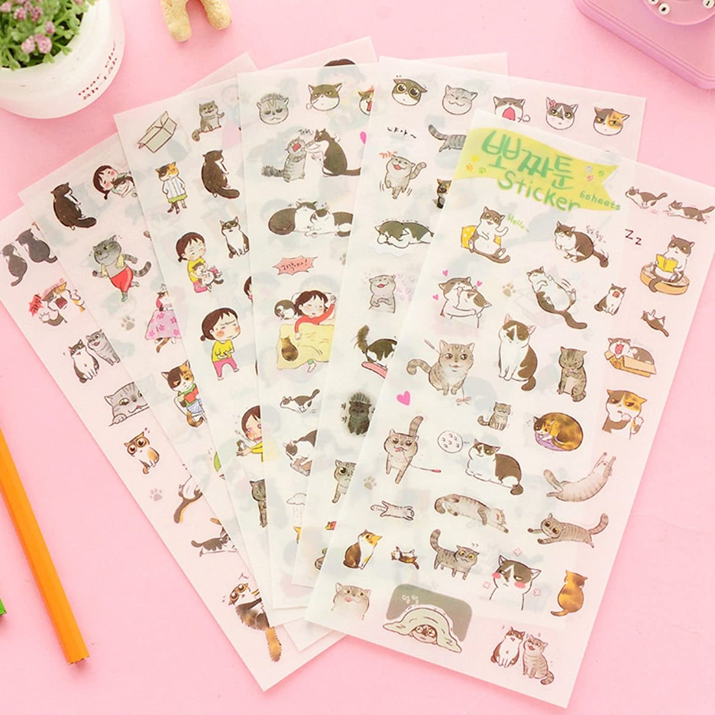 [DECO FAIRY] Colorful Cat Kitten Stylish Pattern Stickers Decals