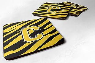 "Caroline's Treasures CJ1026-CFC Monogram-Tiger Stripe-Black Gold Foam Coasters (Set of 4), Initial Letter C, 3.5"" H x 3.5""..."