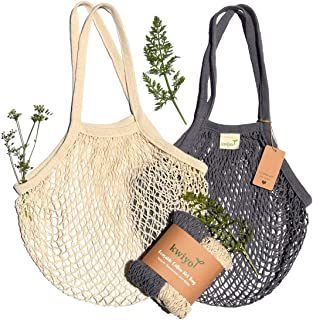 Kwiyo Reusable Grocery Bags Cotton Tote, Washable, Foldable, Zero Waste Farmer's Market Fruit and Vegetable Bag, String Mesh Shopping Net Bag with Long Handles, Pack of 2 (Natural, Gray)