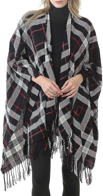 Neck Warmer Ladies Fashion Scarf Luxurious Scarf MKLP Tassel Scarf Winter Ladies Scarf Large Warm Shawl Plaid Scarf Large Shawl Keep Warm and Prevent Cold Fringed