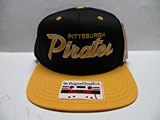 American Needle MLB Pittsburgh Pirates Script Team Color 2 Tone Retro Snapback Cap