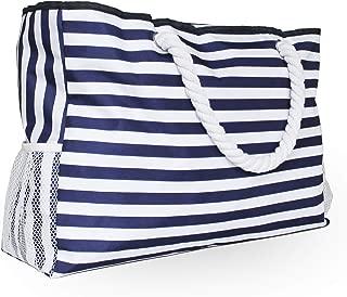 CALMOCASA Beach Bag Sturdy Cotton Rope Handles Outside Pocket Shoulder Tote Phone Case Key Holder Bottle Opener Water Repellent Blue Stripes Zipper Washable Ripstop Cash Tablet Large Towels Cosmetics