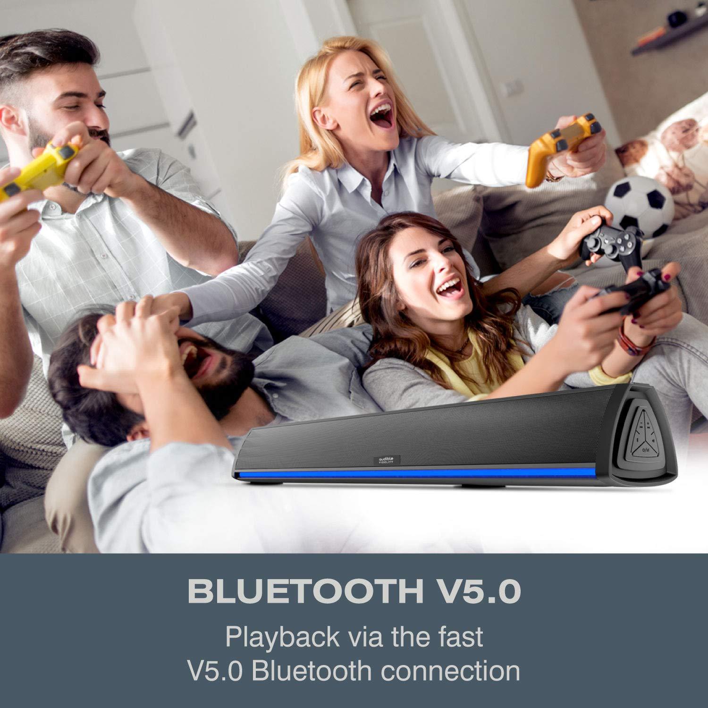 Barra de Sonido TV con Bluetooth, Altavoces Barras para Television,  Videojuegos, Música, Soundbar Home Cinema, Oficina y PC con Control Remoto