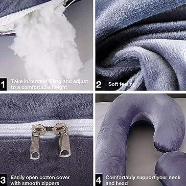 Pregnancy Pillow C Shaped, Full Body Maternity Pillow with Zipper Removable Velvet Cover, Full Body Pillow for Pregnant Women