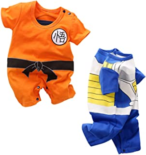 YFYBaby Baby Boys Girls' 2 Pack Short Sleeve Romper - Dragon Ball Z,One Piece,Naruto,Goku,Vegeta