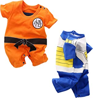 【zybaby】ベビー服 2枚セット 夏 ロンパース 半袖 カバーオール 新生児服 - ドラゴンボール,NARUTO(ナルト),ONE PIECE(ワンピース)
