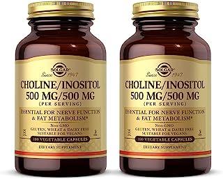 Solgar Choline/Inositol 500 mg/500 mg, 100 Vegetable Capsules - Pack of 2 - Energy Metabolism, Liver Health, Brain & Nerve...