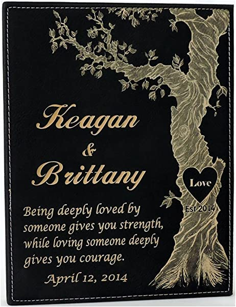 Forever Me Gifts Anniversary Black Leather Plaque Gift With Personalized Names And Established Date