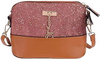 silverone Shell Shoulder Handbag Sequins Bag Handbag Purse Crossbody Messenger Bag with Deer Pandent/Pink