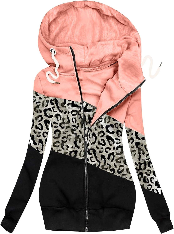 Tops for Women Work,Women Turtleneck Leopard Prints Splicing Jacket Zip Up Hoodies Drawstring Sweatshirts