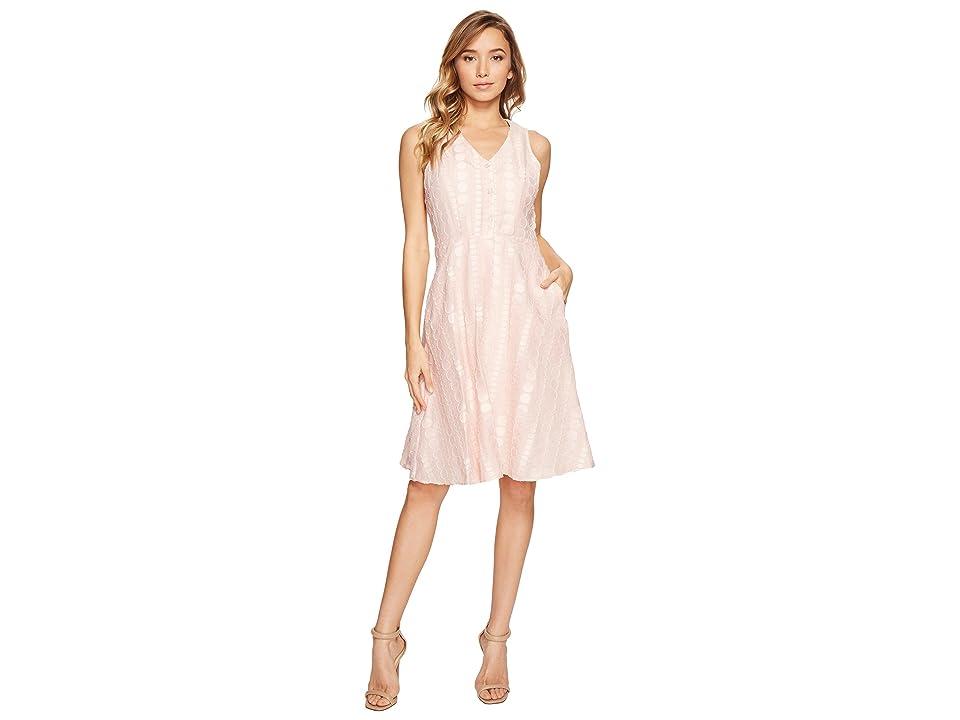Donna Morgan V-Neck Dot Burnout Jacquard Fit and Flare Shirt Dress (Petal Pink) Women