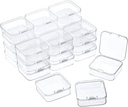 24 Packs Small Clear Plastic Beads Storage Containers Box with Hinged Lid for Storage of Small Items, Crafts, Jewelry, Har...