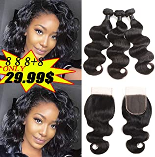 8A Brazilian Body Wave Bundles with Closure 100% Unprocessed Virgin Hair Short Human Hair Bundles with Closure Free Part Natural Color 100g per Bundle Total 350g (8 8 8+8, Natural Black)