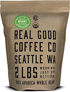 Real Good Coffee Whole Bean Coffee, USDA Organic Dark Roast Coffee Beans, 2 Pound Bag