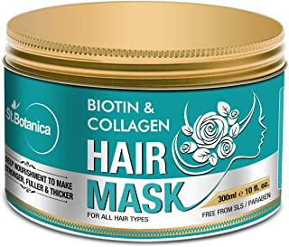StBotanica Biotin & Collagen Strengthening Hair Mask, 300ml - Revives Dull, Dry, Damaged Hair into Stronger, Fuller and Thicker Hair