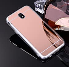 PHEZEN Galaxy J7 Pro 2017 Case,Luxury Bling Makeup Mirror Case for Girls Anti Scratch Sparkle Soft TPU Silicone Protecive Case Cover for Samsung Galaxy J7 Pro 2017, Rose Gold
