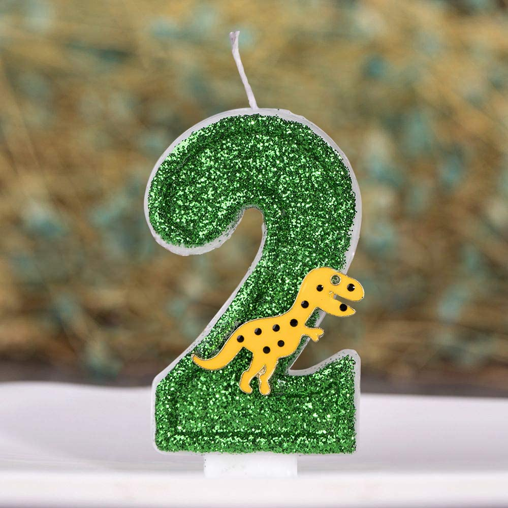 """3/"""" Tall ANPEI Large Dinosaur Glitter Birthday Number Candle"""