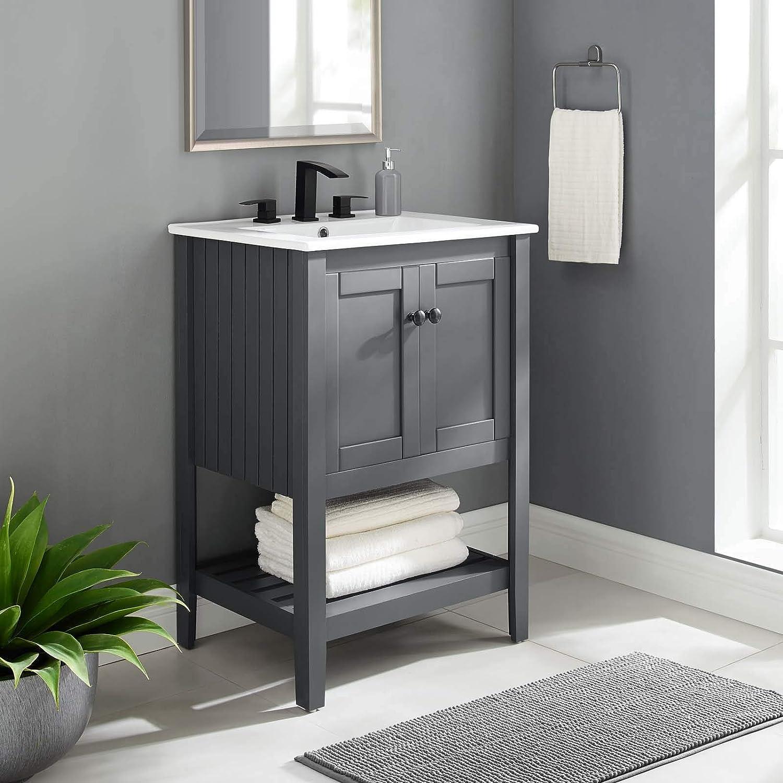 Amazon Com Modway Prestige 24 Bathroom Vanity In Gray White 24 Inch Tools Home Improvement