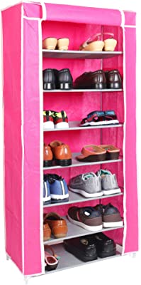 WowObjects 7 Layers Portable Multi-Utility DIY Foldable Storage Shoes Rack for Home (Pink)