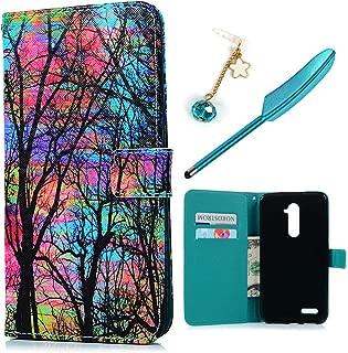 for ZTE ZMax Pro Case, ZTE Z981 Flip Folio Wallet Case PU Leather Case Ultral Slim Shockproof Drop Resistant TPU Inner Bumper Kickstand Card Holders Magnetic Closure Cover for ZTE ZMax Pro - Forest