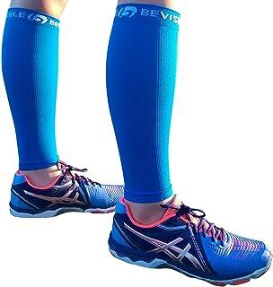 آستین فشرده سازی گوساله ورزشی BeVisible - جوراب فشرده سازی ساق پا Shin Splint برای آقایان و خانمها | آستین های گوساله برای سفر و بازیابی دوچرخه سواری در حال اجرا