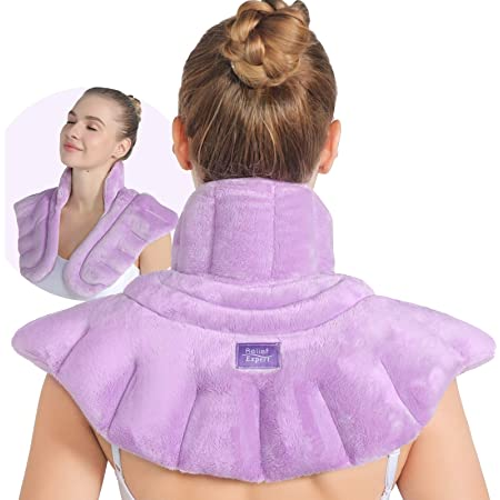 Relief Expert Microwavable Heating Pad for Neck Shoulders and Back, Extra Large Weighted Microwave Heated Neck Wrap for Pain Relief - 4LBs(funchsia)