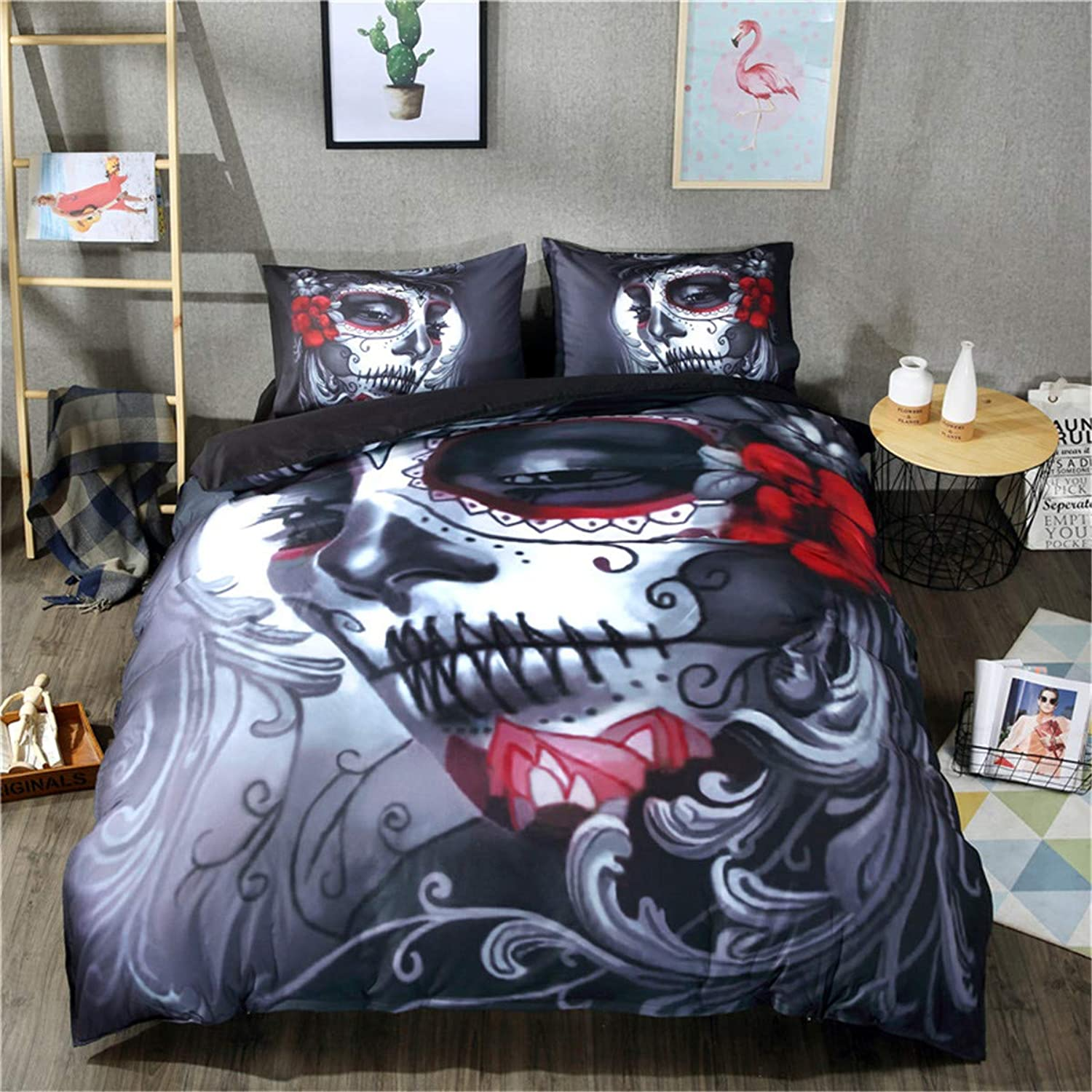 Skull Duvet Cover 3D Printed Flower and Beauty Skull Printed Duvet Cover Halloween Skeleton Bedding Quilt Duvet with 2 Pillowcases and Zipper Queen Size
