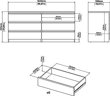 Tvilum 6 Drawer Double Dresser, Black Matte