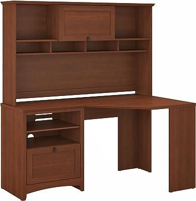 Bush Furniture Buena Vista Corner Desk with Hutch in Serene Cherry