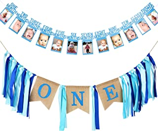 SATINIOR First Birthday Banner 1st Birthday Decoration Boy Supplies includes Baby Photo Banner 12 Months Banner and 1st Birthday Bunting Garland for Baby Birthday