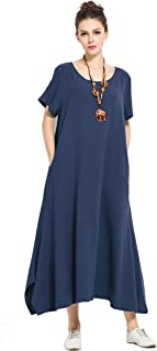 Anysize Linen Cotton Soft Loose Spring Summer Dress Plus Size Clothing F126A