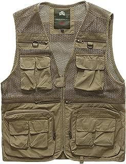 XXT Pocket Vest Cotton Summer and Autumn Men's Sports and Leisure Multi-Pocket Vest Practicality (Color : Khaki, Size : L)