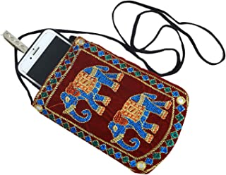 Kuber Industries Designer Embroided Mobile Phone Pouch Cover with Purse Pocket and Sari Hook for Women Red BG79, KUBERBGH74