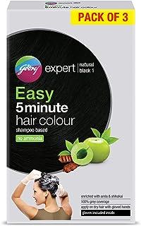 Godrej Expert Easy 5 Minute Hair Colour Sachet - Natural Black (Pack of 3),75ml