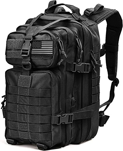 Tru Salute Military Tactical Backpack Large Tan Army 3 Day Assault Pack Molle Bugout Bag Rucksack (black)