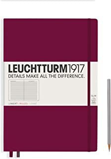 Leuchtturm1917 Master Slim Hardcover Ruled Notebook- 121 Numbered Pages, Port Red