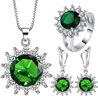 VPbao Cubic Zirconia Plated Silver Chain Necklace Earrings Ring CZ Jewellery Set Green