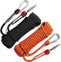 GINEE Outdoor Static Climbing Rope 35FT,50FT,100FT,150FT (Diam 10mm,16mm)