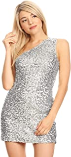 Women's Stretchy One Shoulder Sparkly Sequin Cocktail Party Mini Dress